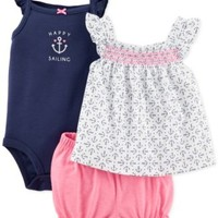 Carter's Baby Girls' 3-Piece Top, Bodysuit & Shorts Set | macys.com