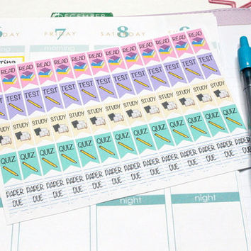 65 School Task Flag marker stickers! Perfect for your Erin Condren Life Planner, Filofax, Plum Paper & scrapbooking! #SQ00472