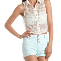 Lurex Lace Crop Top: Charlotte Russe