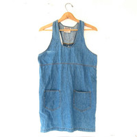 Vintage Jean Dress. Mini Denim Dress. Jumper Dress.