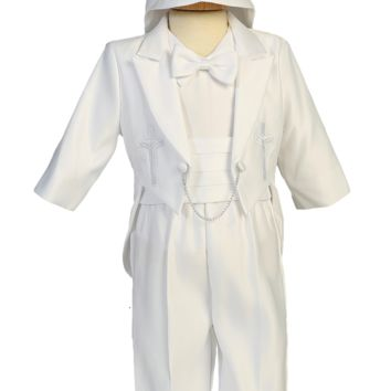 Boys Satin 5pc Tuxedo Baptism Set w. Cross Embroidery Newborn - 2T