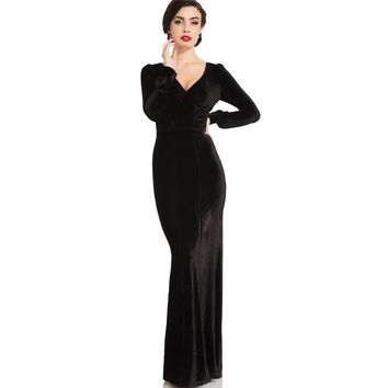 Molly 30s Black Velvet Gown