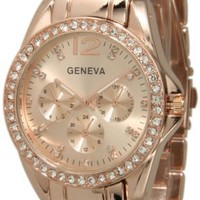 012 Rose Gold Accent Rhinestone Chonograph Bracelet Watch