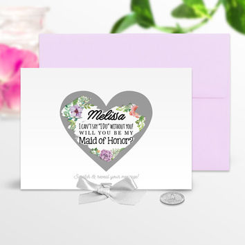 Will You Be My Bridesmaid Card / Maid of Honor Card / Flower Girl Card / Scratch Off Card / Wedding Card / Marriage / Bridesmaid