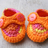 Baby Booties - Orange and Pink Striders