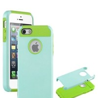KINGCO TPU + PC Hybrid High Impact Hard Shell Case Cover for Apple iPhone 5/5S Cases Covers (green+light blue)