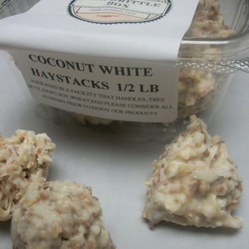 White chocolate haystacks hand made to order 1 lb tub . wedding favors party favors chocolate gifts