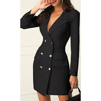 In Control Long Sleeve V Neck Double Breasted Blazer Bodycon Mini Dress - 2 Colors Available