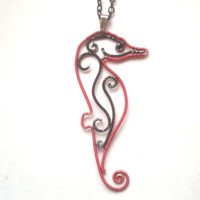 Seahorse Necklace, Wire Wrapped Red And Black Art Seahorse Pendant, Wire Wrapped Jewelry, Unique OOAK Gift Idea, Sealife Wire Jewellery