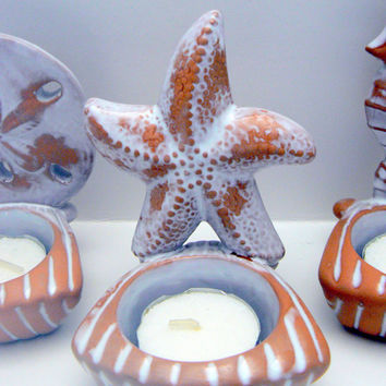 Seashell Starfish Seahorse Ceramic Votive Candle Holder 3 Pc Set Sea Shell Star Fish Sea Horse Cottage Chic Shabby Chic Beach Nautical Decor