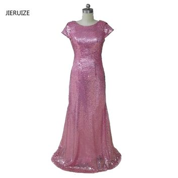 JIERUIZE Pink Sequin Mermaid Bridesmaid Dresses Long 2017 Short Sleeves Backless Wedding Party Dresses Formal Dresses