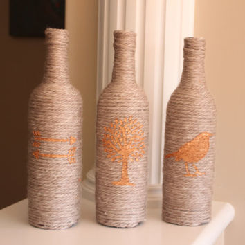 Wine Bottle Decor, Yarn Wrapped Wine Bottles, Beige Home Decor, Copper Decor, Wine Bottle Centerpiece, Boho Decor, Mother's Day Gift