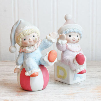 Vintage Baby Clowns Figurines for Nursery, Pastel Porcelain Clowns, Homco Nursery Clowns, Vintage Nursery, Taiwan, Alphabet Block, Boy Girl