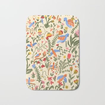Tropical Garden Pattern Bath Mat by chotnelle