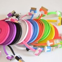Costyle 10pcs/lot 10 Colors Colorful 2M 6 Feet Long Flat USB Data Sync Charging Cable Cord for iPhone 4 4S iPod