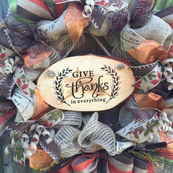 Fall Wreath, Fall Front Door Wreath, Fall Deco Mesh Wreath, Rustic Wreath, Burlap Wreath, Thanksgiving Wreath