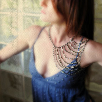 shoulder harness body chain antique gold by novella on Etsy