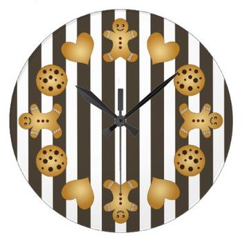 Cute Team Cookie Kids Cartoon Striped Pretty Wall Clocks