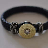 Remington 12 Gauge Shotgun Shell  Leather Bracelet  Braided Interchangable Bullet  Black   8 1/2 or 7 1/2 Swarovski Crystal Made in the USA