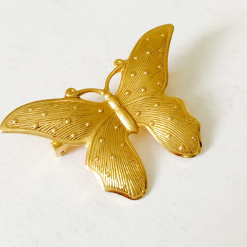 Vintage Sears 1970s Gold Butterfly Brooch, Polka Dots • Insects, Nature, Gardener, Lepidopterist, Marriage, Wedding, Mother • Metamorphosis