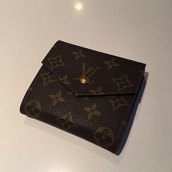 One-nice™ Auth LOUIS VUITTON Elise Trifold Wallet Purse Monogram Leather