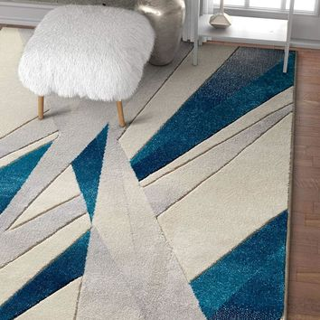 7022 Ivory Blue Hand Carved Contemporary Area Rugs