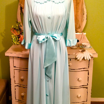 60s Nightgown Set, Aqua Peignoir Set, 1960s Vintage Peignoir, Retro Nightdress Set, Satin n Nylon Lingerie, Long Elegant Set, Womens Large