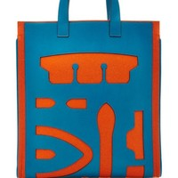 Hermes Gm Blue De Galice & Orange Swift Leather And Wool Felt Petit H Skeleton Tote by Heritage Auctions Special Collection - Moda Operandi