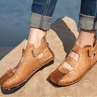 Handmade original Leather Shoes for Women Retro Flats,soft leather Casual Shoes, womens Sandals, Retro Oxford Shoes,Red shoes,Brown Flats