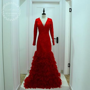 Luxury Feather Red Long Sleeves Mermaid Prom Dress 2017 Sexy Black Girls V-Neck African Evening Party Gowns Vestidos de Festa
