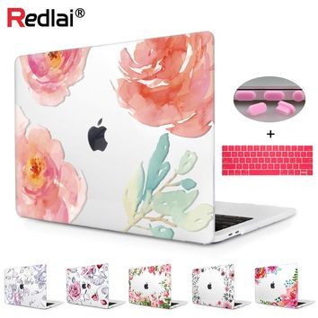 Floral Crystal Clear Print Hard Case For Macbook Pro 13 15 Touch bar Laptop bag Air A1932 Pro Retina 12 13 15 Keyboard Skin
