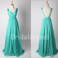 Light Green Ruffled Crew Spaghetti Straps Backless Long Bridesmaid Dress,Floor Length Chiffon Formal Evening Party Prom Homecoming Dress