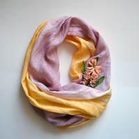 Yellow and Beige Linen Scarf - Hand Dyed Pure Linen Scarf - Long Linen Scarf - Infinity Scarf - Summer Beach Wedding Scarf