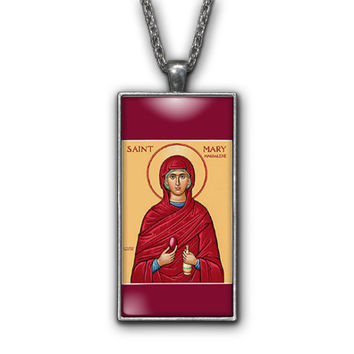 Saint Mary Magdalene Painting Religious Pendant Necklace Jewelry