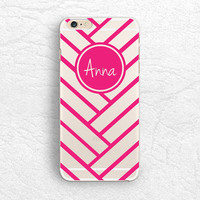 Personalized transparent clear phone case for iPhone 6, iPhone 5 5s, LG G3, Sony z3, HTC One m8, geometric chevron ombre Monogram phone case