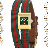 GUCCI Fashion Square Creative Female Double Wrap Strap Watch F