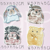 Rabbit Die cut hamster paper 20 pcs. Animal paper die cuts ,making card, cut out decoration scrapbook /paper craft