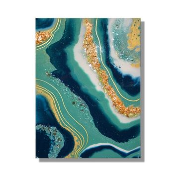 Modern Aquamarine Artwork, Gold Leaf Painting, Abstract Resin Painting, Mixed Media, Blue Geode, Anniversary Gift, Birthday Present for Her