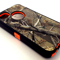 Hunting Tree Camouflage Defender Grass Camo Case for Iphone 4 4S Orange