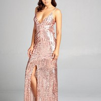 Long Sequin V Neck Dress