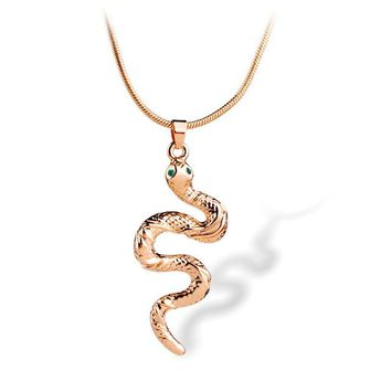 Gold Color Snake Pendants Necklace