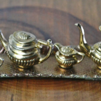 Miniature Tea Coffee Set, Metal Miniatures, Doll House, Vintage Miniatures