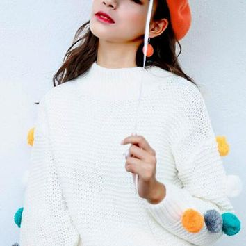 White Colorful Fur Ball Round Neck Long Sleeve Oversize Pullover Sweater