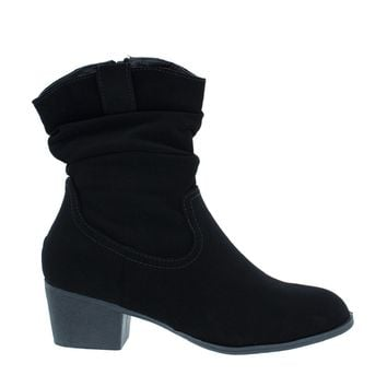 Slouchy Low Heel Ankle Boot (Black)