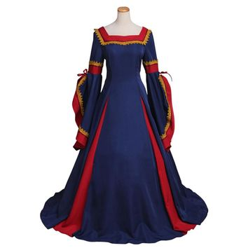 Renaissance Medieval Dress Dark Blue Cosplay Costume Custom Made