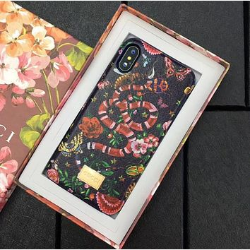 GUCCI Popular Personality Snake Flower Butterfly Pattern Mobile Phone Case For iphone 6 6plus iphone 7 7plus iphone 8 8plus iphone X Black I12484-1