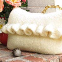 White Ruffle, Felted Purse Pattern, Knit Bag Pattern, Felted Purse, Knitted Purse, Knitting Pattern, Instant Download, PDF