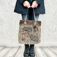 Big leather tote bag, beige leather handbag, knitted leather purse,monogrammed purse leopard print
