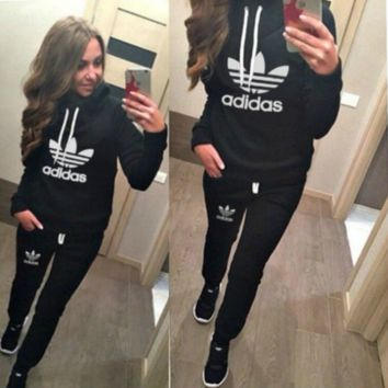 Cool Black Adidas Letters Long Sleeve Shirt Sweater Pants Sweatpants Set Two-Piece Sportswear