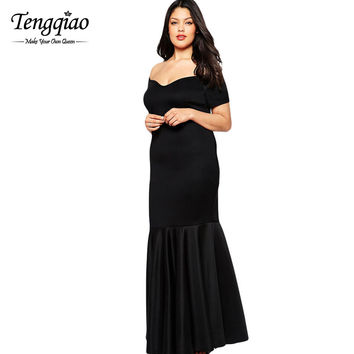 Vestido Plus Size Dresses For XXL XXXL  Large Size Dress Elegant Long Party Black Dresses Big Size 60884 SM6